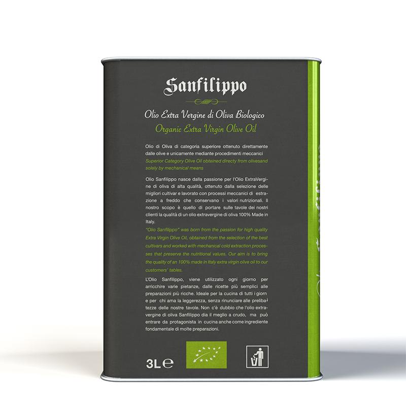 Olio extravergine di oliva biologico 3l retro